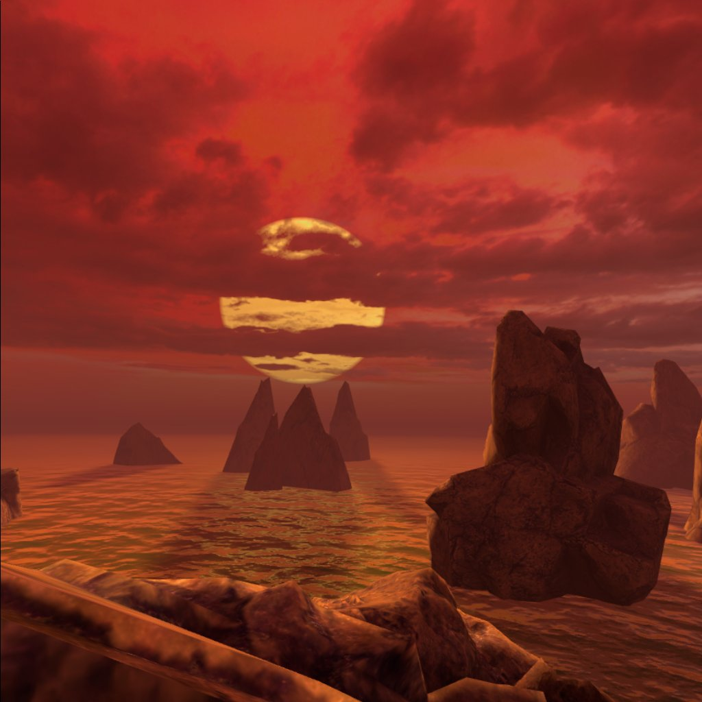 View of the ocean with a red sky and sun.